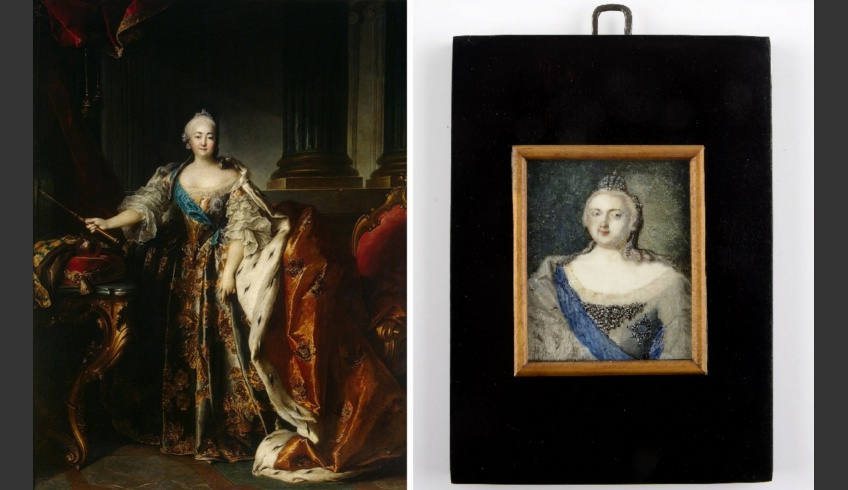 ill 2. Empress Jelizaveta Petrovna (1709–1762) in full dress. The miniature after conservation  (on the right). The piece was painted after Jean Louis Tocqué's state portrait, painted in 1758 (on the left).