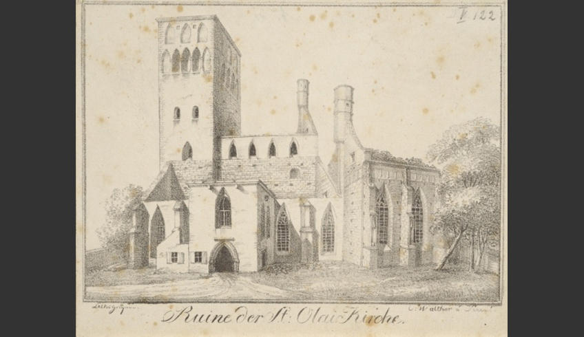 ill 3. Walther Carl Siegmund. Ruins of St Olaf's Church in 1825. Lithography. 15.6 × 21.3 cm  EKM j 283: 1328 G, 3494, Estonian Art Museum.