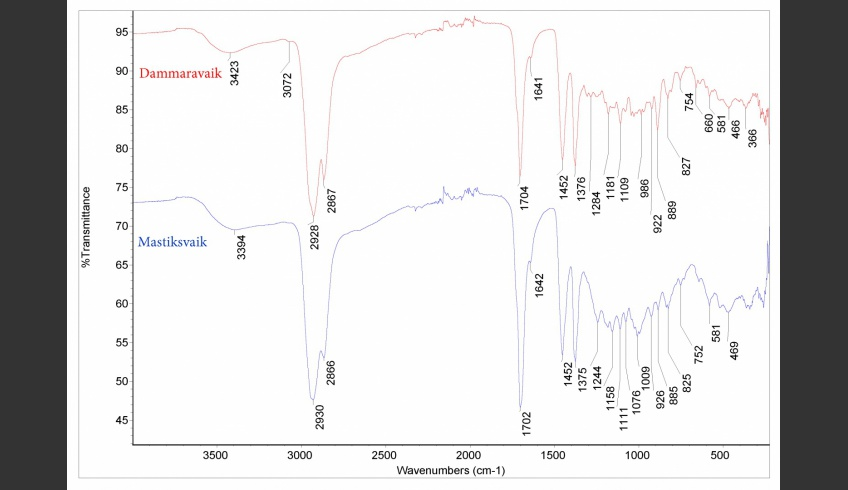ill 3. Comparison of ATR-FT-IR spectra of dammar and mastic resin.