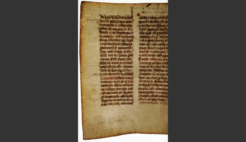 fig 4. Palimpsest, a reused sheet of parchment from the Latin directives of mass arrangement in the 13-14th- century, TLA.Cm 4.