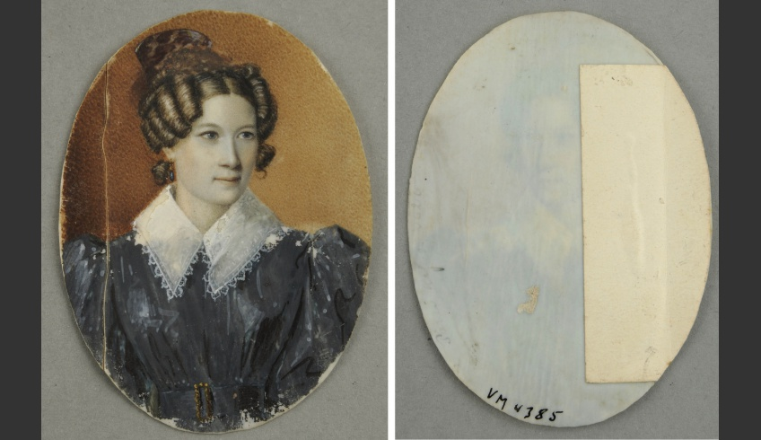 ill 5. Sophie Paetsen's portrait before conservation. On the left - the bone plate was ca 0.5 cm broken. On the right - the break was supported with paper that was not removed.