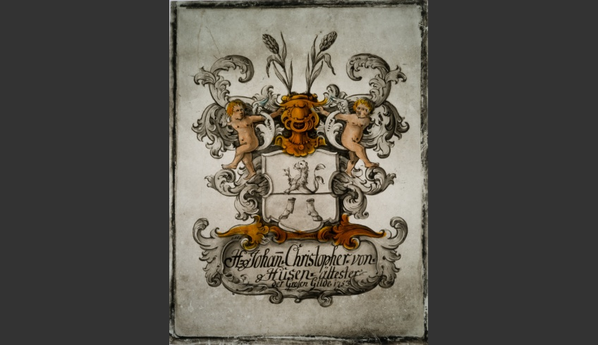 ill 5. Johan Christopher von Husen's coat of arms painting (1753) before conservation.