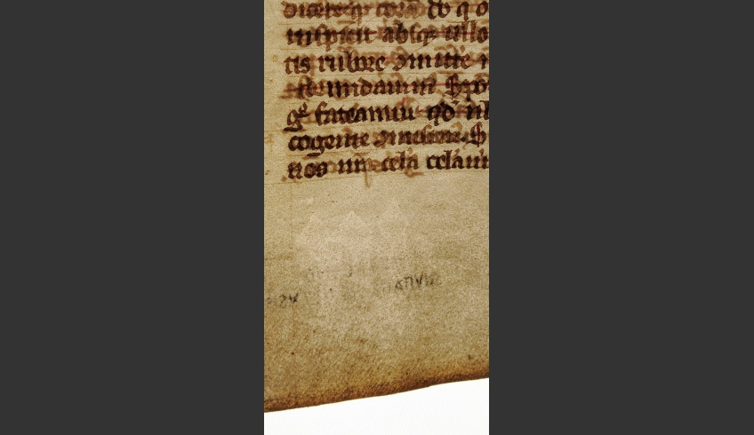 fig 5. Detailed photo of a reused parchment sheet, TLA.Cm 4.