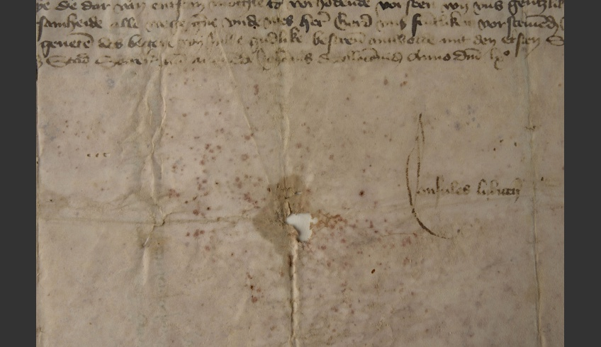 fig 6. An example of damages on parchment, documented in the atlas of parchment damages.  Biologically damaged parchment that has become brittle, TLA.230.1.BB-40/ii.