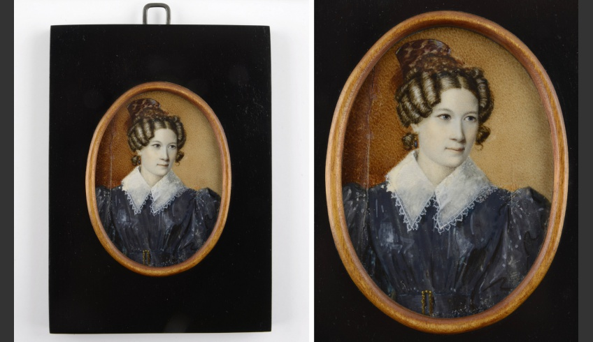 ill 6. Sophie Paetsen's miniature painting (8 × 6 cm) after conservation (VM VM 4385 K). Bone, gouache.