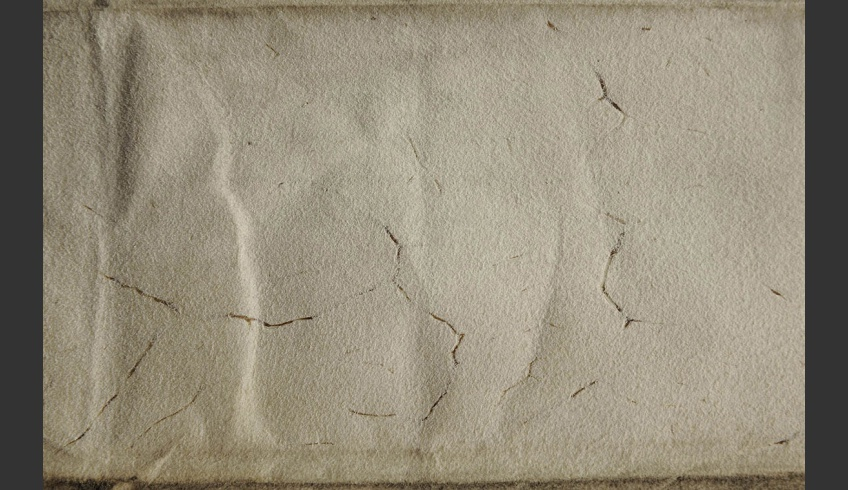 fig 8. An example of damages on parchment, documented in the atlas of parchment damages.  Parchment degraded in the area of blood vessels, TLA.230.1-iii. 67.