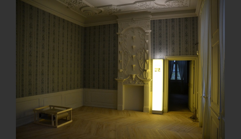 ill 9. The ancestors' gallery in Mirow Palace with the reconstructed wallpaper.