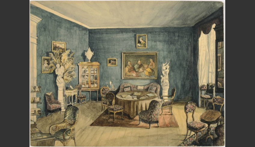 ill 1. Watercolour depicting the Green salon by Anna von Krüdener. 1887. The Viljandi Museum 9893:1K Conserved in 2015 by Tea Shumanov (Kanut). Photo – Kanut.