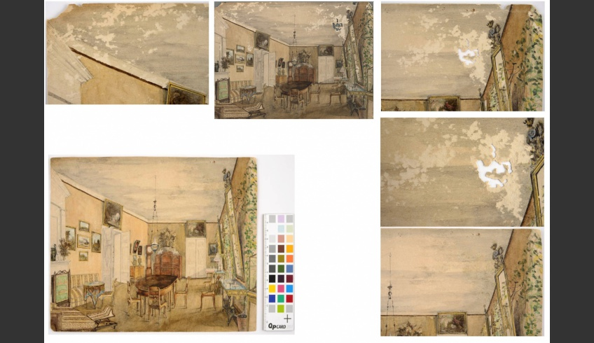 ill 30. Above in the centre the watercolour before conservation and below after it. The holes in the paper (on the left and right above) were under-set with special repair paper and filled with a mixture from an adhesive and cellulose powder on the surface of the watercolour, then toned with watercolours (below, on the left). Photo – Kanut.