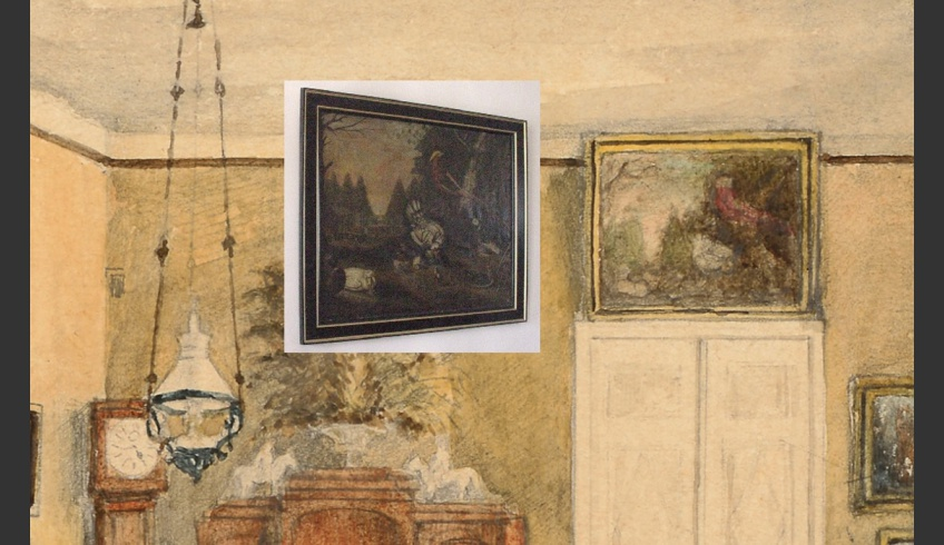 ill 7. Comparison of the painting depicting the dining room in the watercolour by Anna von Krüdener and the painting under national protection now in Sagadi Manor (Pheasants oil by J. Fr. Seupel).