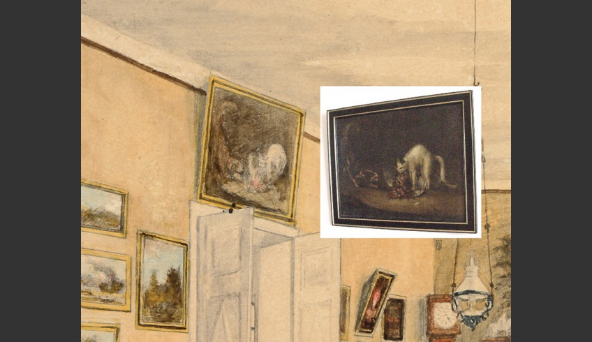 ill 9. Comparison of the painting depicting the dining room in the watercolour by Anna von Krüdener to the painting at present in Sagadi manor (Oil painting Fighting by J. Fr. Seupel). Photo – Kanut.