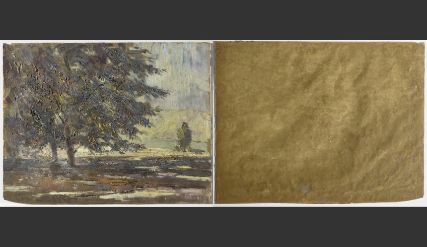 fig 3. A.Vabbe Landscape. Tree. 1937. EKM M 4113. Front (recto) and back (verso) sides. 0.16mm thick paper of cellulose from coniferous trees (fibres of flax and hemp added), no lignin.