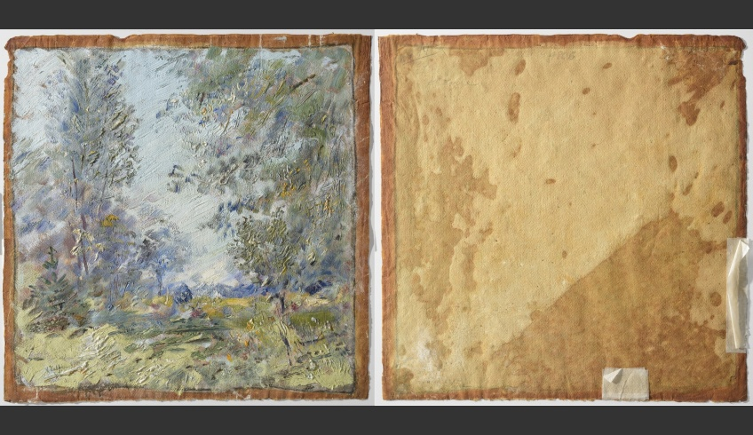 fig 6. A.Vabbe Landscape. 1941. EKM M 4806. Front and back sides of the painting. Paper – 0.25mm thick, made at the Räpina paper-mill (flax and hemp fibres, no lignin). The adherence of oil paint on paper is good, no shedding of paint. It is a surprisingly heavy piece of art.