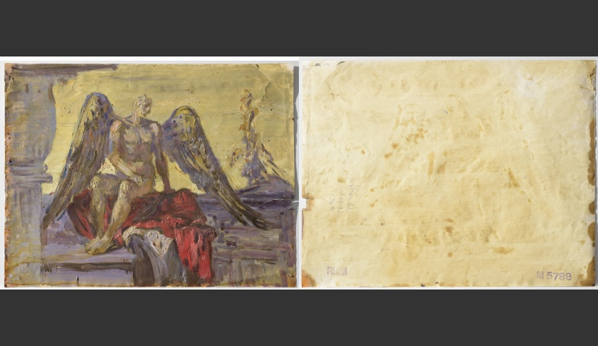 fig 9. A. Vabbe Demon, 1944. EKM M 5788. Front and back sides of the painting. The paper (0.17mm thick) contains lignin and has been covered with a chalky layer on recto and verso sides. The layer of paint is smooth and even. The paint has adhered well, as chalk has made the surface more porous. Some tears in the paper have caused shedding of paint.