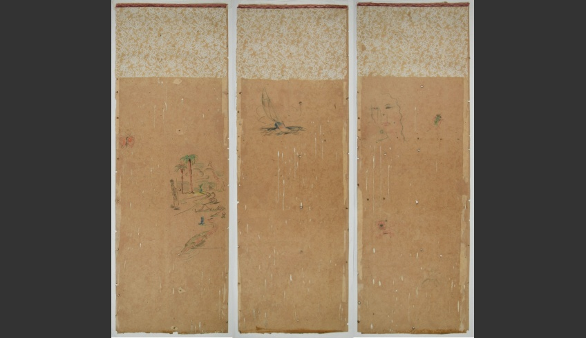 ill 36. Conserved cardboard strips. A piece of wallpaper was retained in the upper part of every cardboard strip to give an effect of a joining element and a trace of history.