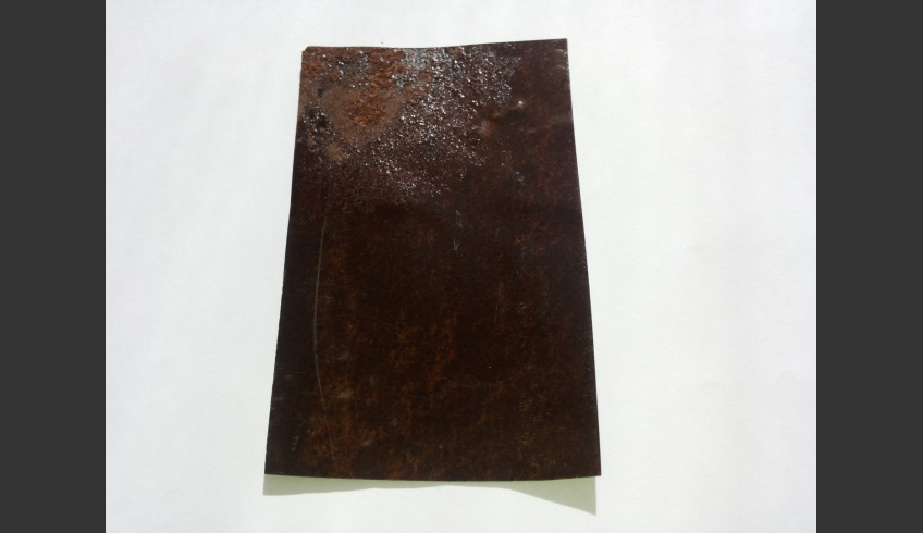 ill 9. Reverse view of the corroded ferrotype.